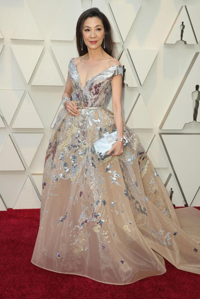 Michelle Yeoh, Elie Saab, 91st Academy Awards, Dolby Theater Hollywood, Oscars 2019, Academy Awards, Red Carpet, Oscars Red Carpet 2019, Best Dressed, Celebrity Fashion, On the red carpet, celebrity style, red carpet jewelry, most expensive jewelry at the oscars, most expensive jewelry at the academy awards, awards season best looks, Sarah In Style, Sarah Meyer, Kodak Theater, Roosevelt Hotel Los Angeles