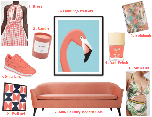 Color Swimsuit, Palm Print Swimsuit, Coral Dress, Coral Sofa, Pantone Living Coral products, Living Coral Candle, Coral Sneakers, Pantone Color Institute, Pantone Color of the Year, Living Coral, Most Popular Colors, Trending colors, 2019 trends in color, Pantone trends, Pantone colors, Sarah Meyer, Sarah In Style, where can I buy stuff that is the Pantone color of the year, what is the pantone color of the year