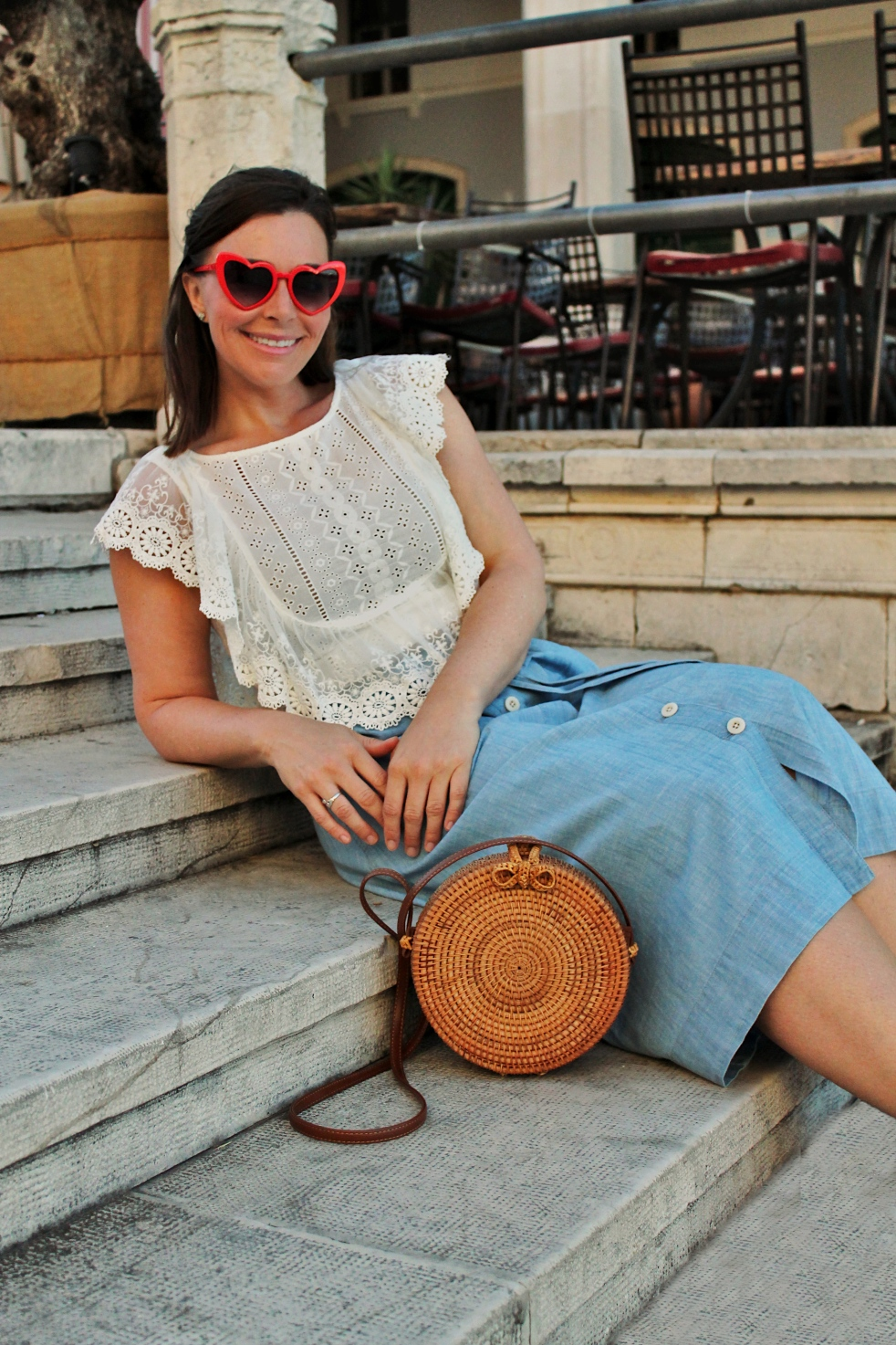 Split Croatia, Split Photographers, Split Photography, Sarah In Style, Sarah Meyer, Heart Sunglasses, Travel Wardrobe, Travel Fashion, Travel Accessories, How to Pack for Vacation, Packing Tips, Travel Basics, Wardrobe Basics, Visit Split, Visit Croatia, Wicker Purse, Cool Sunglasses, How to accessorize, Samm Creative