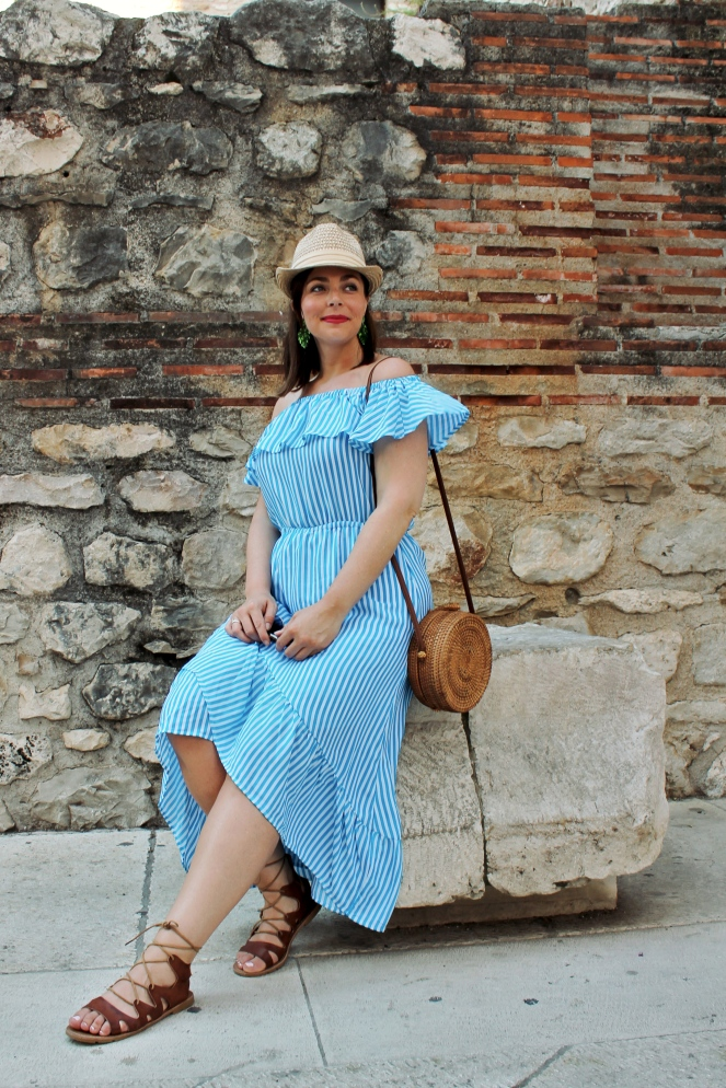 brown lace up sandals, tommy bahama dress, blue and white striped dress, vince camuto hat, round straw purse, L'oreal Infallible, Lip Stain, Split, Split Croatia, Croatian Cities, What to pack, Packing tips, Packing by color, Packing color scheme, vacation blues, what to pack for vacation, Sarah In Style, Sarah Meyer, Blogger travel tips, European travel tips, SarahInStyle.com, Tommy Bahama, Vince Camuto, Visit Split, Split city, Visit Croatia, Packing 101, Avoiding stress while packing