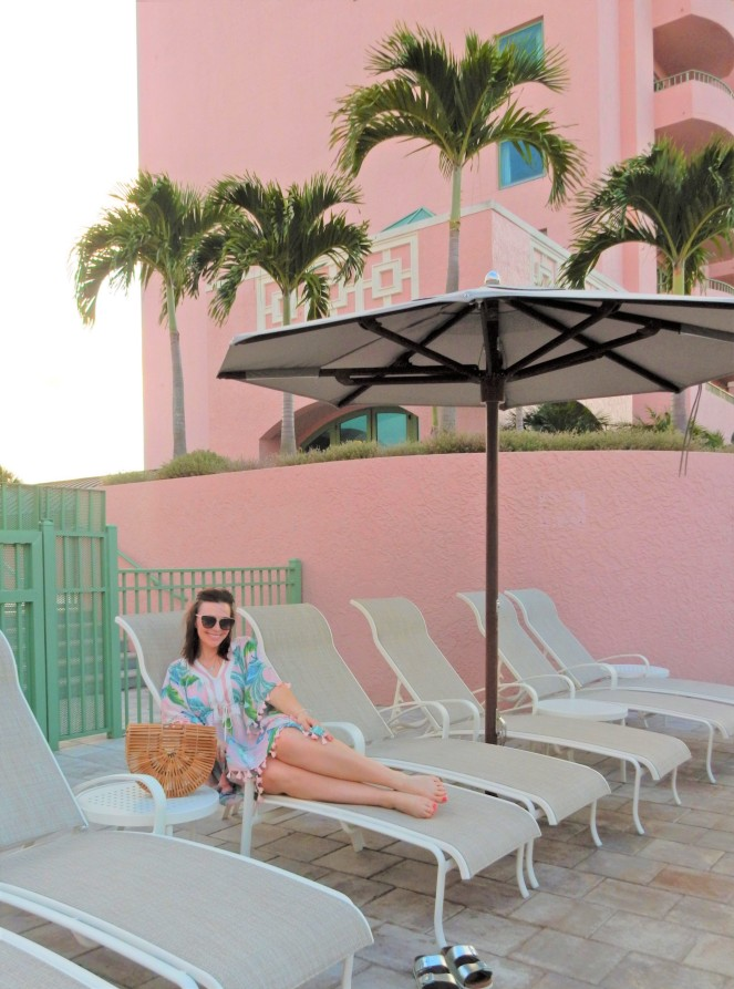 Sarah In Style, SarahInStyle, SarahInStyle.com, Sarah Meyer, Pink Palace, The Vinoy, The Vinoy Renaissance, St. Petersburg Hotels, Swim Cover Up, Swim cover ups, Spartina, Pink palm print, Palm print swim, Pink hotels, swim accessories, vacation styling, what to pack for vacation, day to night looks, from beach to chic, Marriott Hotels, Pretty in Pink
