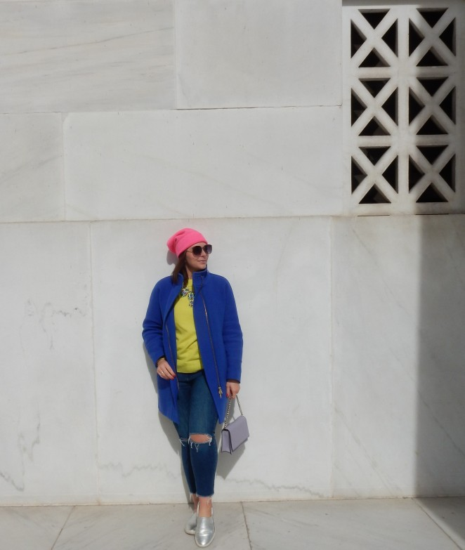 No Neonsense Fashion, Sarah In Style, Sarah Meyer, SarahInStyle. Neon Fashion accessories, Neon Fashion, J. Crew coats, Classic coats, colorful coats, Blue Coat, Neon Pink Beanie, Neon Green Sweater, Lavish Lime, Neon Necklace, Silver slip on sneakers, Washington D.C. fashion, Winter fashion, beat the winter blues, color in the winter, Washington Monument, Lincoln Memorial, Pep in your step, Kate spade accessories, Layering colors, blogger fashion advice, blogger fashion tips