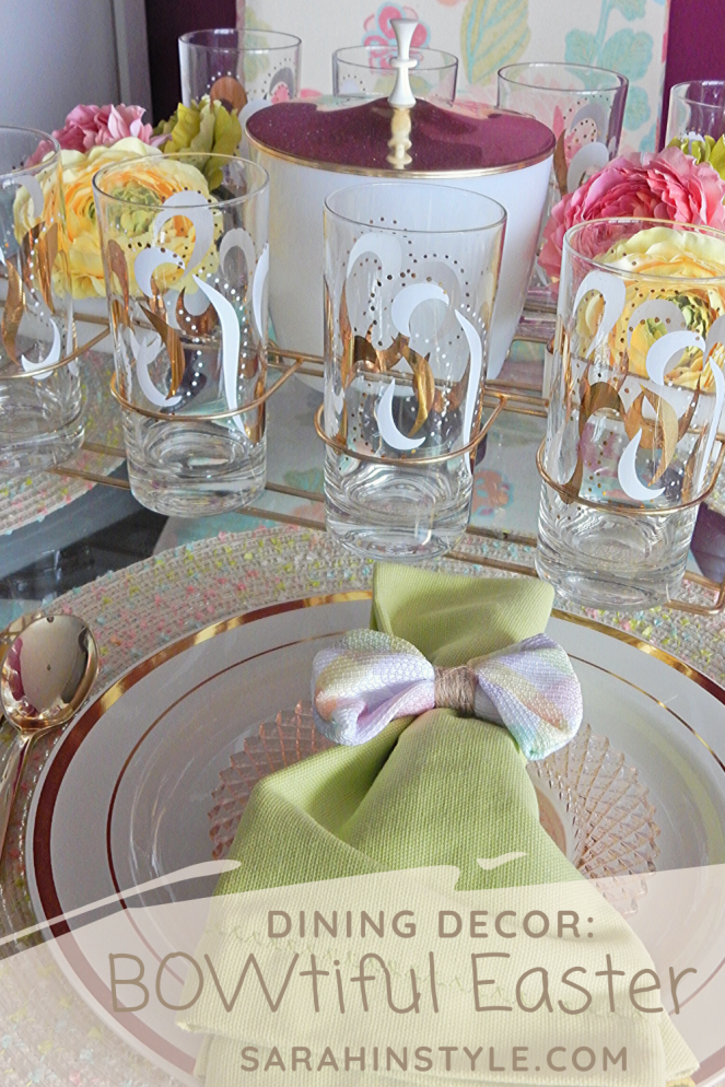 Dining Decor, Tablescape, Tablescapes, Sarah In Style, Sarah Meyer, Black and White Table, Black and White Halloween, Halloween Party ideas, Cute table decor, decorating on the cheap, Blogger design ideas, blogger party ideas, spring table decor, Easter table decor, Easter bows, Easter table, spring decor, vintage bar cart, vintage drink ware, vintage glasses, gold and pink, setting the table, dressing up your table, wrapped in bows, bowtiful, Easter 2020, spring celebrations