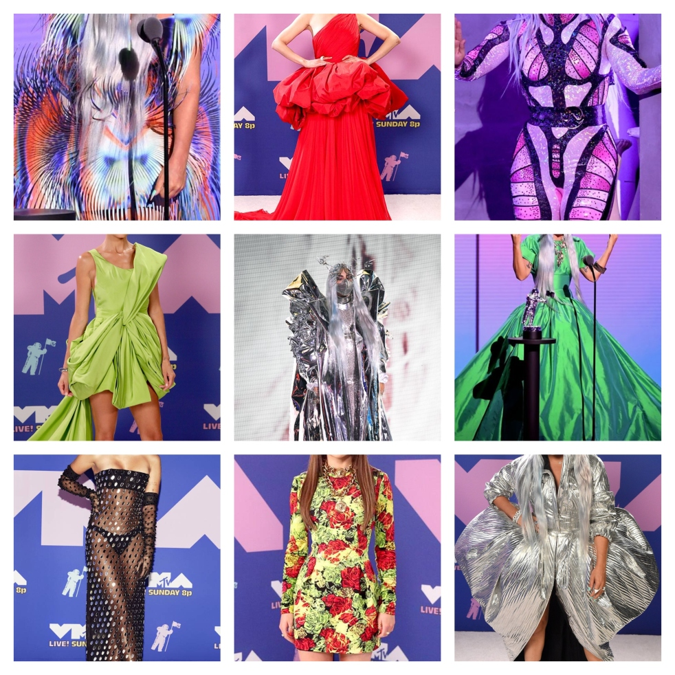 MTV VMA's, VMA, Video Music Awards, MTV awards, best dressed, red carpet, celebrity fashion, who wore it better, what they wore, Sarah In Style, fashion list, Sarah Meyer, VMA's 2020, 2020 Red Carpet Fashion, Masks on the Red Carpet, Lady Gaga, Sofia Carson, Nicole Richie, Miley Cyrus, Joey King, New York City hosts VMA's, Fall 2020 Fashion, A List Celebrity Fashion trends, Celeb fashion trends, Lady Gaga Masks VMA's, Lady Gaga VMA Masks