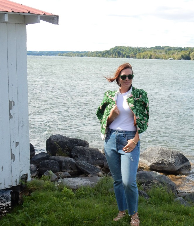 Sarah In Style, SarahInStyle.com, Sarah Meyer, Judith March, Anthropologie Jeans, High waisted jeans, Palm Print Jacket, Palm Tree Earrings, White Racerback tank, Athleta Tank tops, studded sandals, green sunglasses, Sunglass Warehouse, #getoutthere, Fountain Point Resort, Michigan Resorts, Up North Michigan, Fashion to fit your mood, How to dress on a gloomy day, Fashion is fun, You can wear white after labor day, Make fashion your own, Style advice to lift your mood, Dress to fit the mood you want, fashion blogger, blogger style advice, blogger fashion tips, Michigan fashion, Midwest Fashion