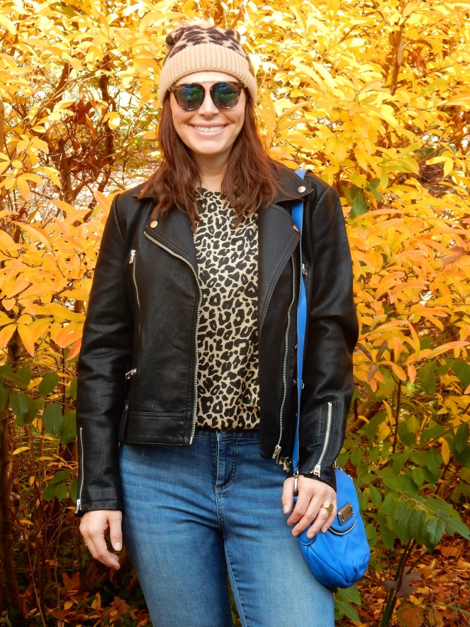 leather jacket, leather bomber, women's leather bomber, Topshop coats, Topshop leather jacket, Nordstrom Leather jacket, Leopard t-shirt, Leopard beanie, Blue crossbody bag, blue marc jacobs bag, sunglass warehouse, cool sunglasses, cute cheap sunglasses, get out there, #getoutthere, Sarah In Style, Sarah Meyer, fall fashion accessories, fall fashion must haves, the perfect jacket for any location, the perfect jacket for any season, falls must have coats, falls must have jackets, Sam Edelman booties, black studded booties, Cute fall fashions, how to dress for fall, leopard and leather, blogger fashion ideas, blogger fashion tips