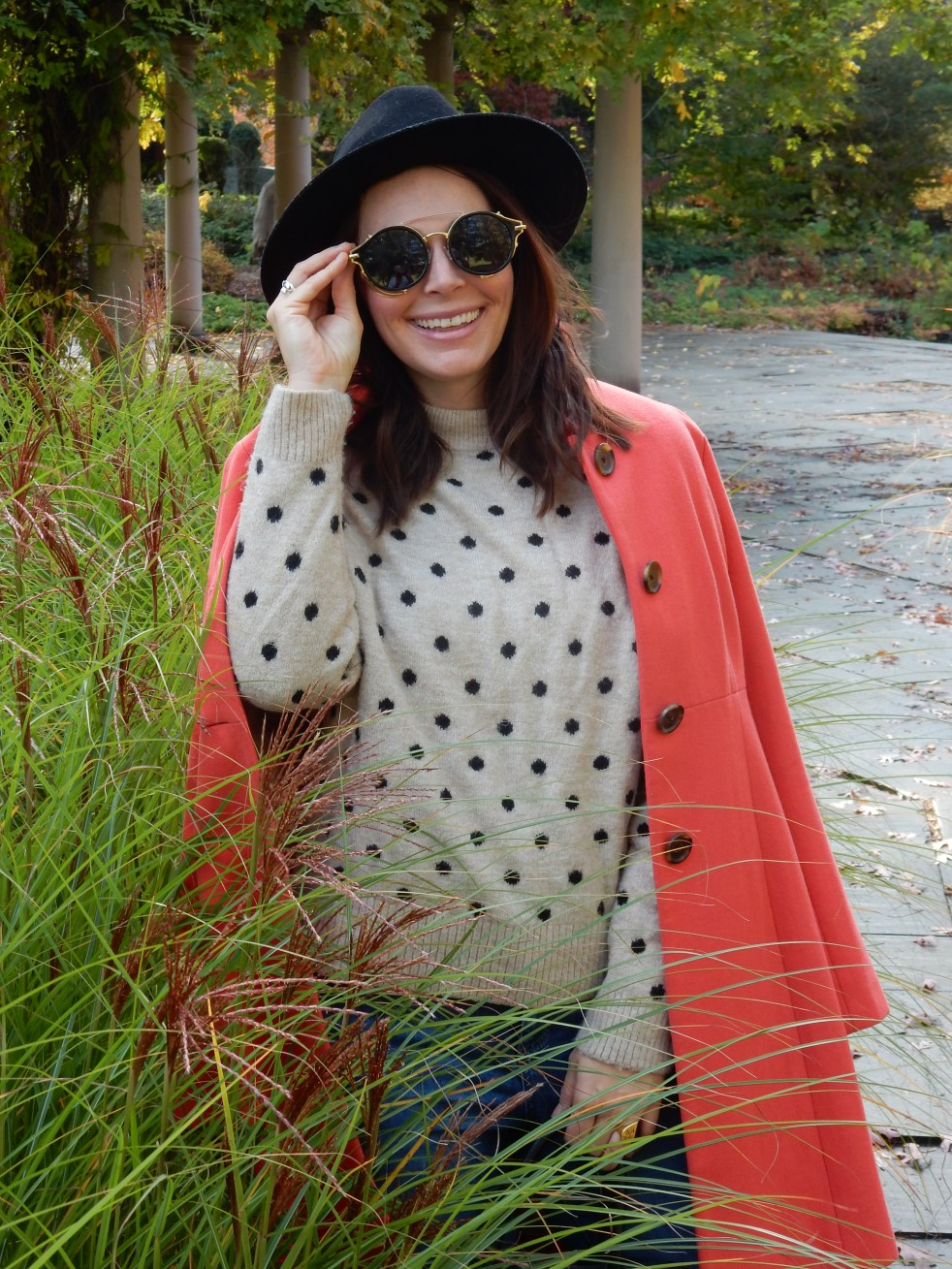 Sarah In Style, Coral Coat, Colorful Winter Coats, J. Crew Coat, Best Winter Coats, Best Winter Jackets, Fashion for your Mood, Mood Booster, Fashion Inspiration, Winter Fashion Tips, How to Dress in Winter, Best Coats 2020, Blogger Fashion Tips, Blogger Winter Fashion, Women's Goggle Sunglasses, Black Studded Booties, Chunky Sweaters, Styling Hats, Unique Sunglasses, Vintage Sunglasses, Winter Styling Tips, Stand Out Fashion, Stand out in Winter, Chicago Fashion, pop of color, color in wardrobe, peppy color in winter, winter pops of color