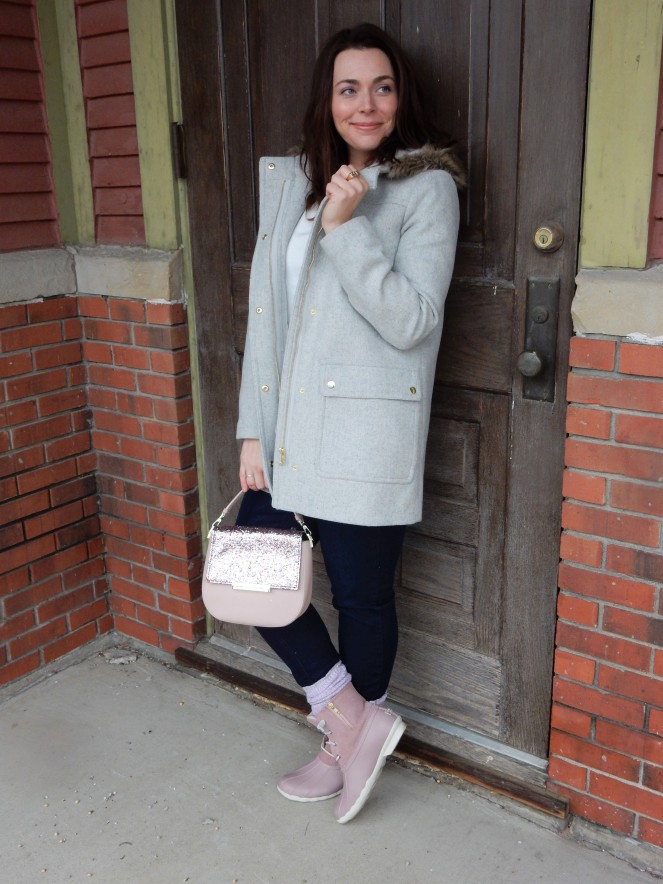 Sarah Meyer, Sarah In Style, SarahInStyle.com, Winter Fashion Trends, Colorful Winter Style, Best Winter Coats, Grey Wool Parka, J. Crew Coats, Best Winter Boots, Sperry Duck Boots, Pink Women's Boots, Ruffled Turtleneck, Personalized Jewelry, Personalized Ring, Year Ring, Commemorative Ring, Kate Spade Birdie Bag, Pink Ugg Socks, Pink Duck Boots, Blogger Fashion Tips, Blogger Fashion, How to dress for Winter, Cute Winter Style, Midwest Winter Fashion, Chicago Winter Fashion, Chicago Fashion Blogger